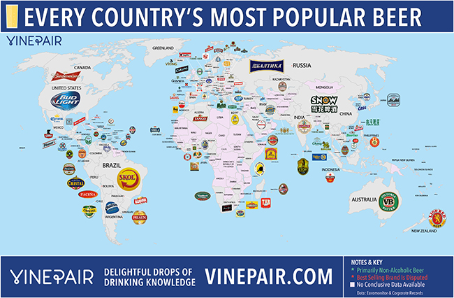 every countrys most popular beer
