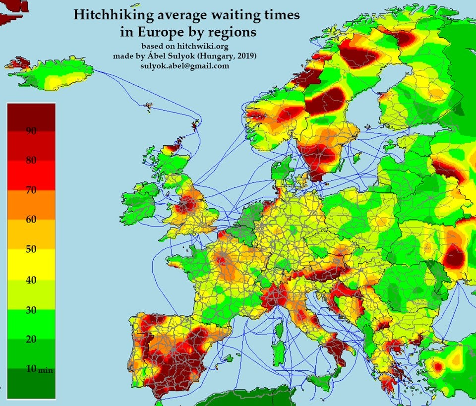 hitchhiking average waiting times in europe by regions